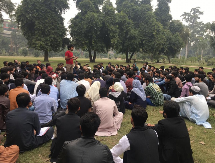 A mobiliser addressing students for the Students Solidarity March happening on Nov 29 in various parts of Pakistan. — Photo courtesy: Progressive Students' Collective Twitter