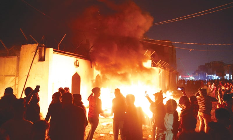 NAJAF (Iraq): Demonstrators set the Iranian consulate on fire during ongoing anti-government agitation.—Reuters