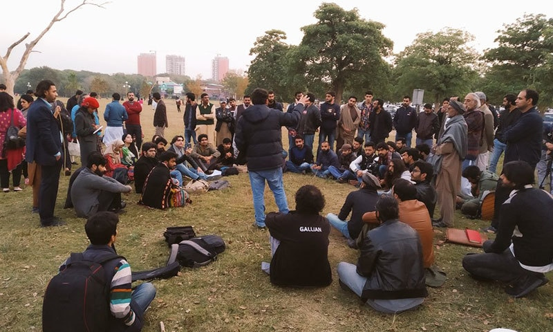Students at a mobilisation session for the Students Solidarity March. — Photo by Layla Kiran