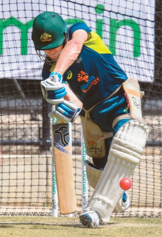 AUSTRALIAN batsman Marnus Labuschagne practises in the nets during a training session on Thursday.—AFP