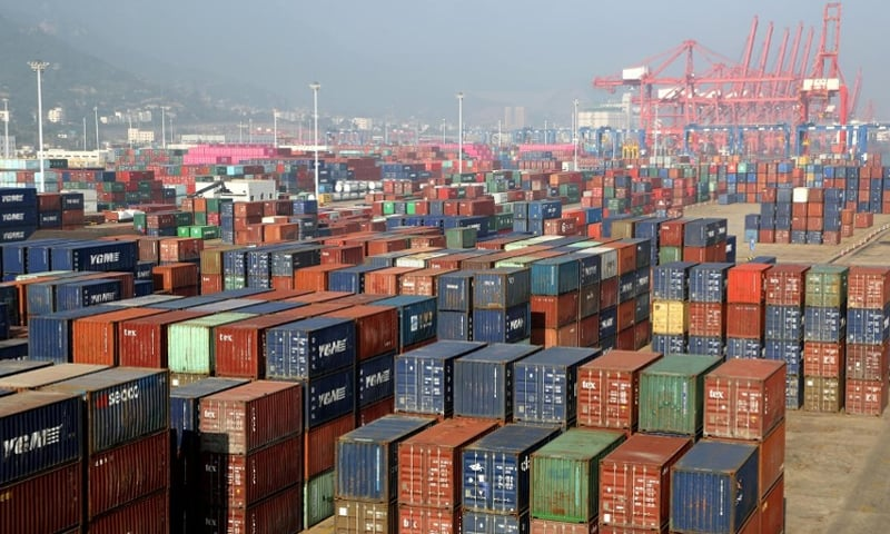 Containers are seen at a port in Lianyungang, Jiangsu province.