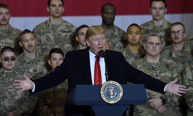 منصب سنبھالنے کے بعد سے اب تک امریکی صدر کا یہ پہلا دورہ افغانستان تھا—تصویر: اے ایف پی
