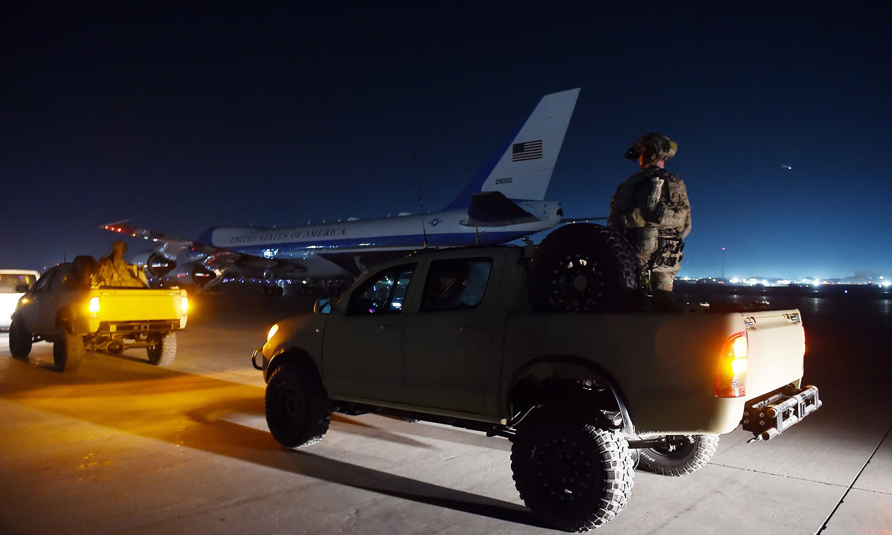 US President Donald Trump's plane Air Force One is seen on the tarmac during a surprise Thanksgiving day visit at Bagram Air Field on November 28 in Afghanistan. — AFP