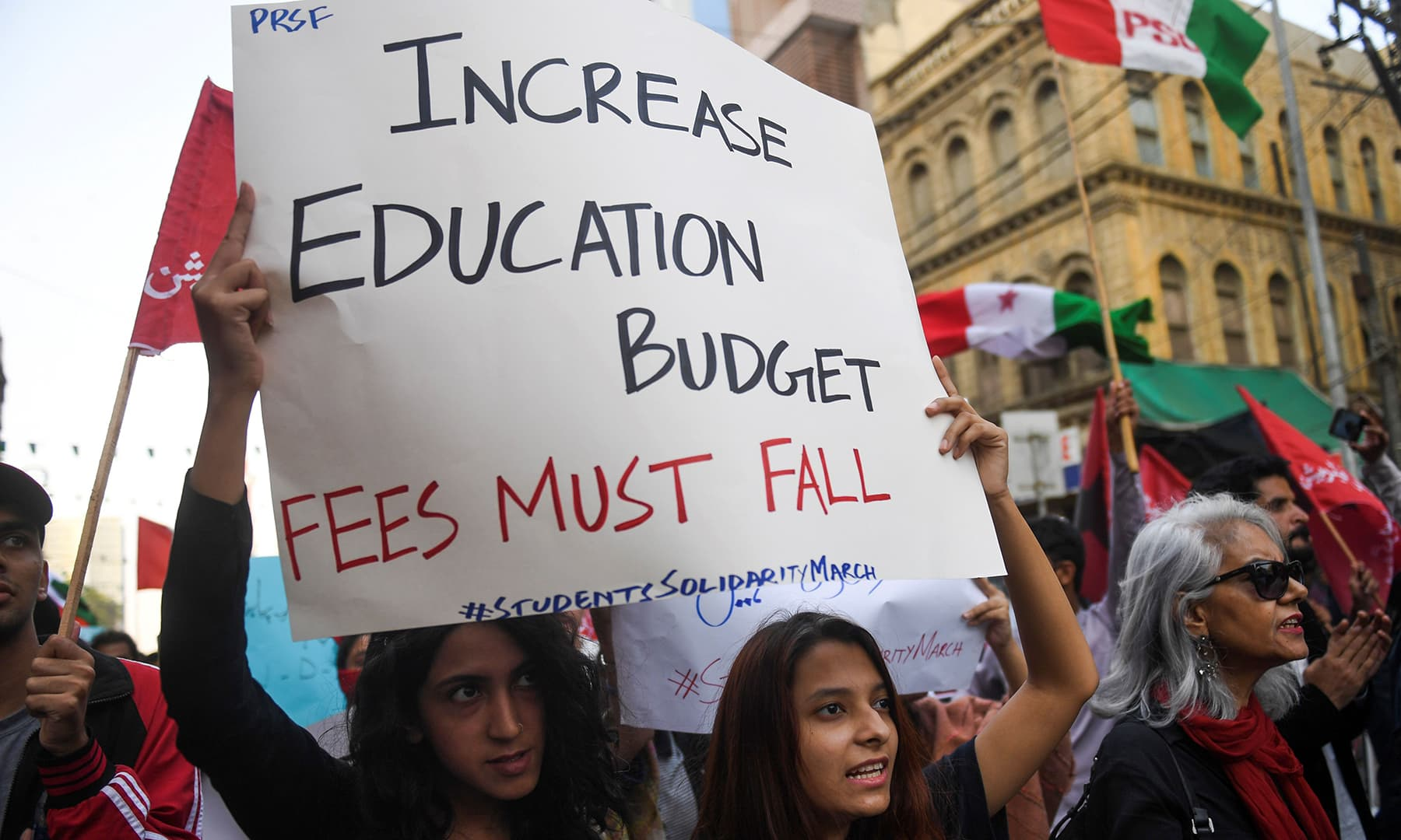 Protesters demand education fee cuts and better education facilities, in Karachi on Friday. — AFP