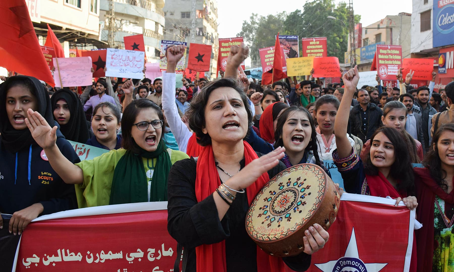 Students and activists chant slogans demanding the restoration of student unions during a student solidarity march in Hyderabad. — Reuters