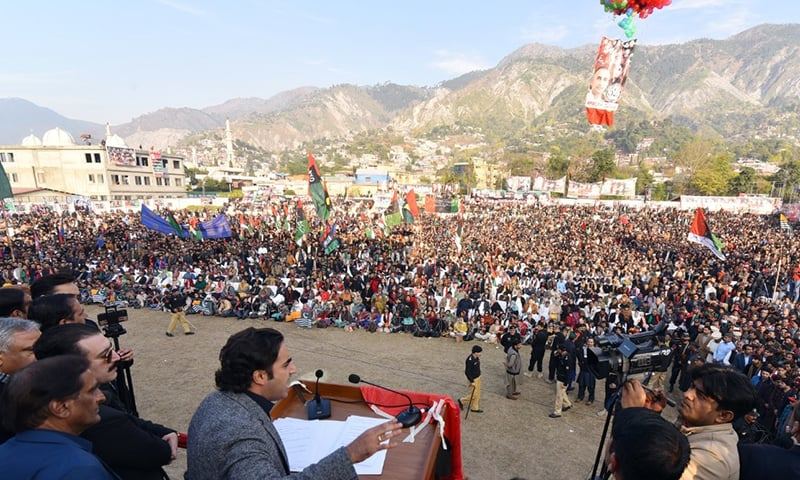 PPP Chairman Bilawal Bhutto Zardari addressing a gathering in Muzaffarabad on the party's 52nd foundation day on Friday. — Photo by author
