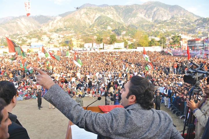 PAKISTAN Peoples Party chairman Bilawal Bhutto-Zardari speaking at the rally.—Online