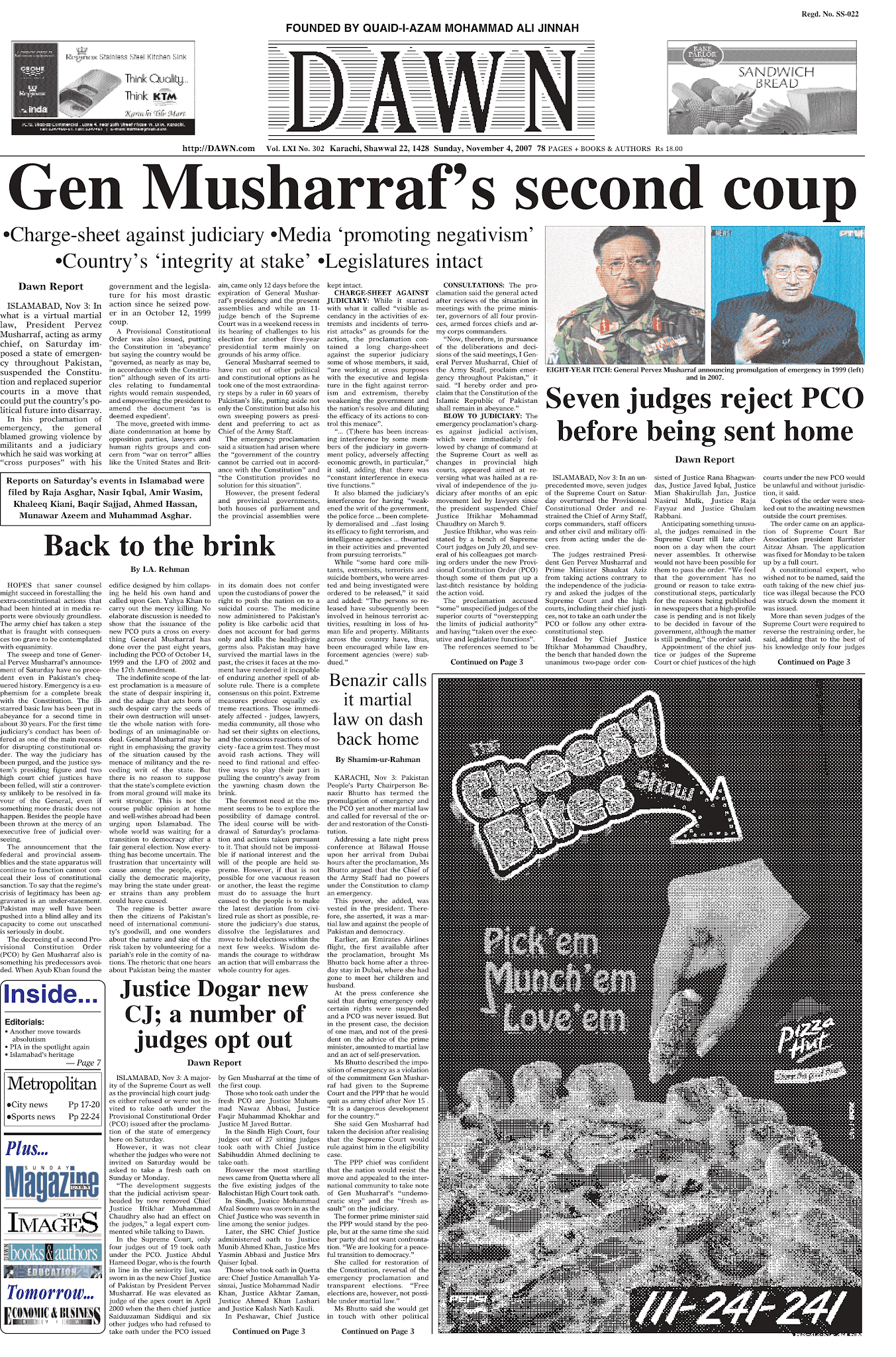 Dawn's Front Page on Nov 4, 2007.