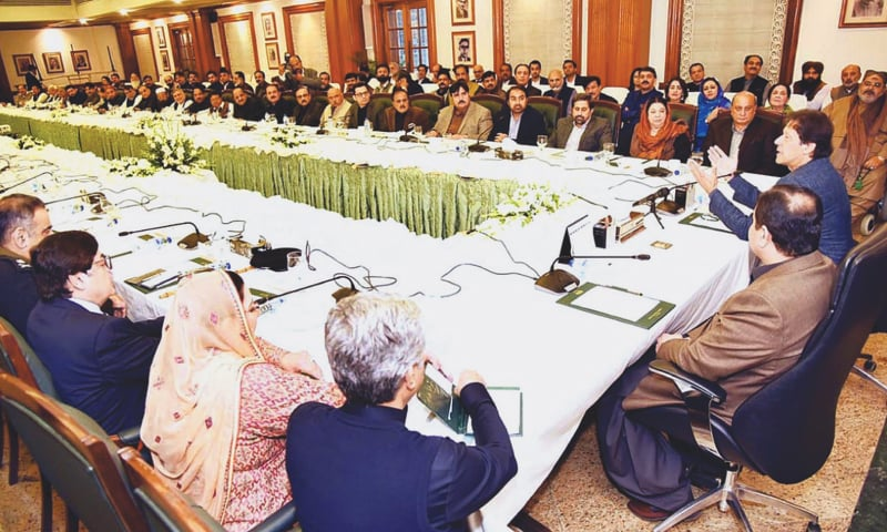 LAHORE: Prime Minister Imran Khan speaks to MPAs of Punjab during a meeting on Saturday.—APP