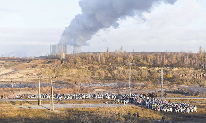 Leipzig (Germany): Supporters of the climate movement Ende Gelaende protest at the coal-fired power station Lippendorf on Saturday.—AP