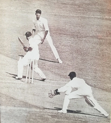 Pakistan's Khan Mohammad clean bowls Pankaj Roy to take Pakistan's first Test wicket at the Feroze Shah Kotla Ground in Delhi, India in 1952
