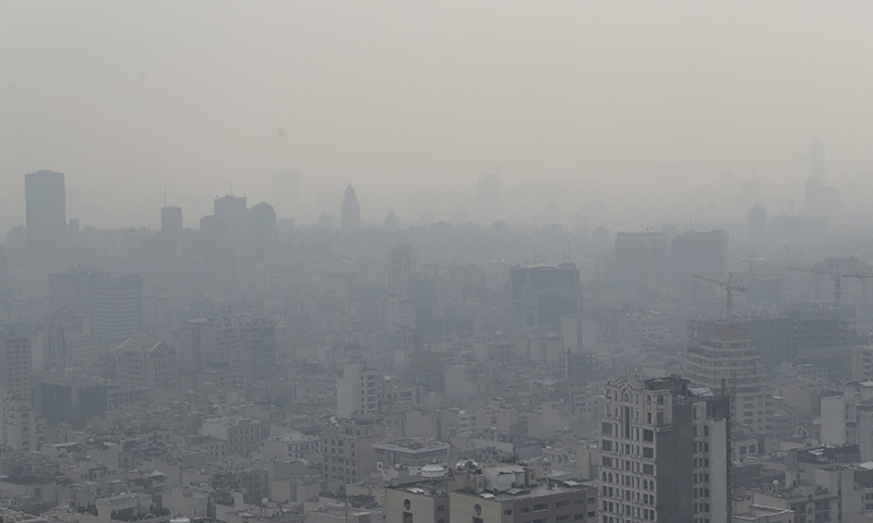 Air pollution blankets the skyline in Tehran, Iran, Saturday, Nov. 30.  — AP