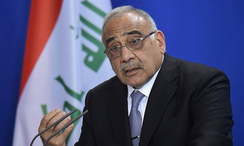 عراقی وزیراعظم عادل عبدالمہدی نے 29 نومبر کو استعفیٰ دینے کا اعلان کیا تھا—فوٹو:اے ایف پی