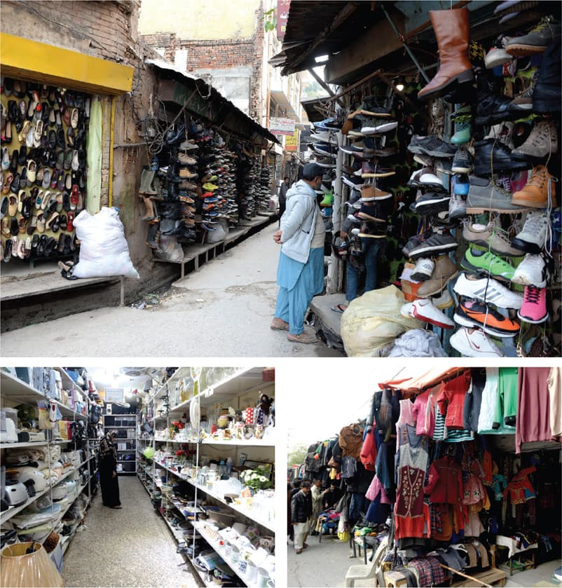 Clockwise from top: Old shoes on display on Railway Road in Saddar, jackets and sweaters being sold on stalls while used electronics, crockery and toys are displayed at a shop on Jamia Masjid Road in Rawalpindi. — Photos by Mohammad Asim