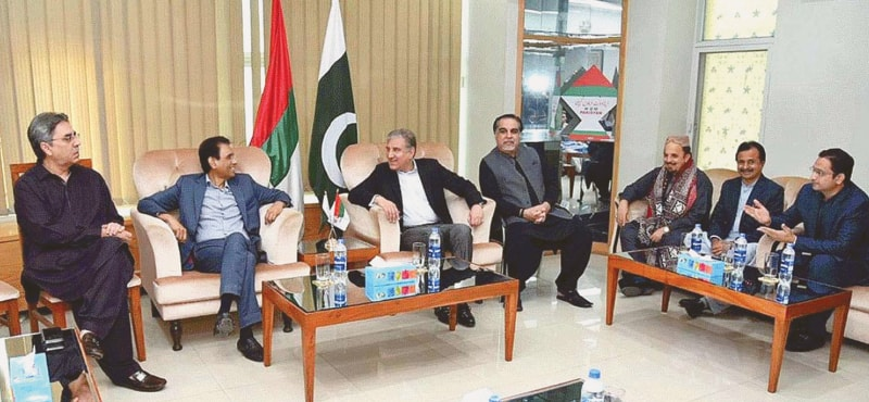 FOREIGN Minister Shah Mehmood Qureshi, Sindh Governor Imran Ismail, Muttahida Qaumi Movement-P convener Khalid Maqbool Siddiqui and others pictured during a meeting at MQM Markaz on Sunday.—APP