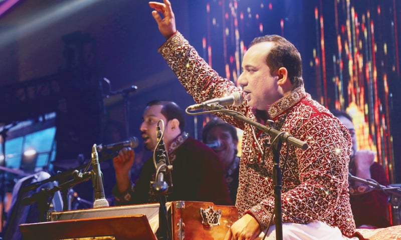 RAHAT Fateh Ali Khan performs at the programme in Hyderabad.—Dawn