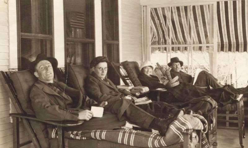 Tuberculosis patients in the late 1800s rest on the porch of a sanatorium in Saranac Lake.—AP