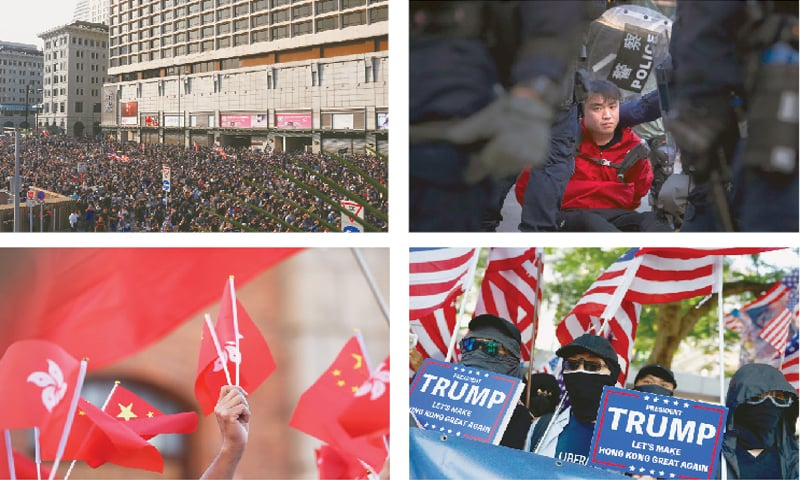 CLOCKWISE: Anti-government protesters at the 'Lest We Forget' rally, an activist detained by policemen, masked protesters hold placards during the 'March of Gratitude to the US' event and pro-Beijing supporters wave Hong Kong and Chinese national flags during a rally in Hong Kong on Sunday.—Reuters