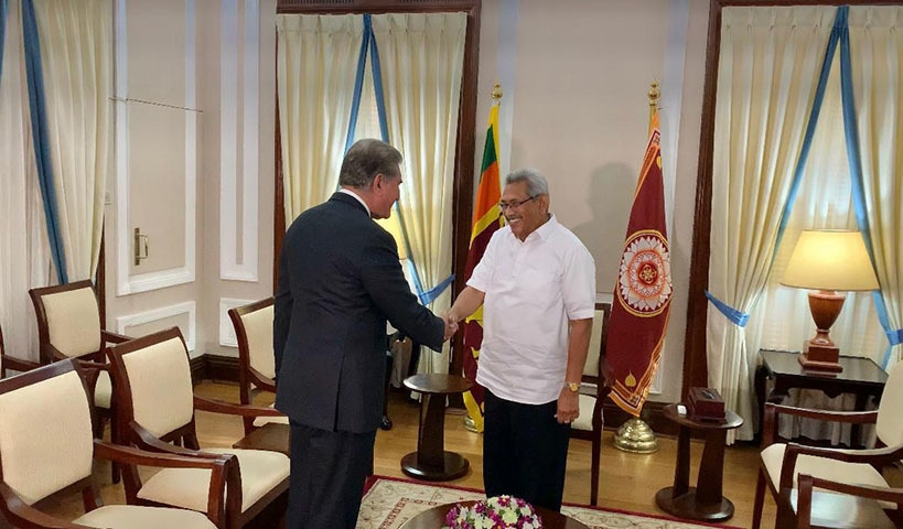 Foreign Minister Shah Mahmood Qureshi meets with his newly appointed Sri Lankan counterpart Dinesh Gunawardena in Colombo on Monday. —  Photo courtesy Foreign Office