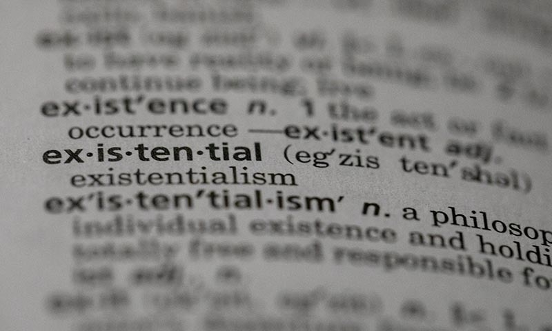 "This Sunday, Dec 1, photo shows the word ""existential"" in a dictionary in the Brooklyn borough of New York. — AP"