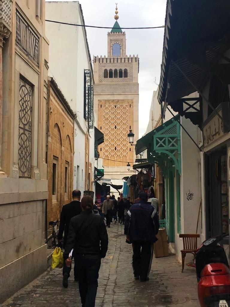 The iconic Zitouna Mosque as seen from Sidi Ben Arous.