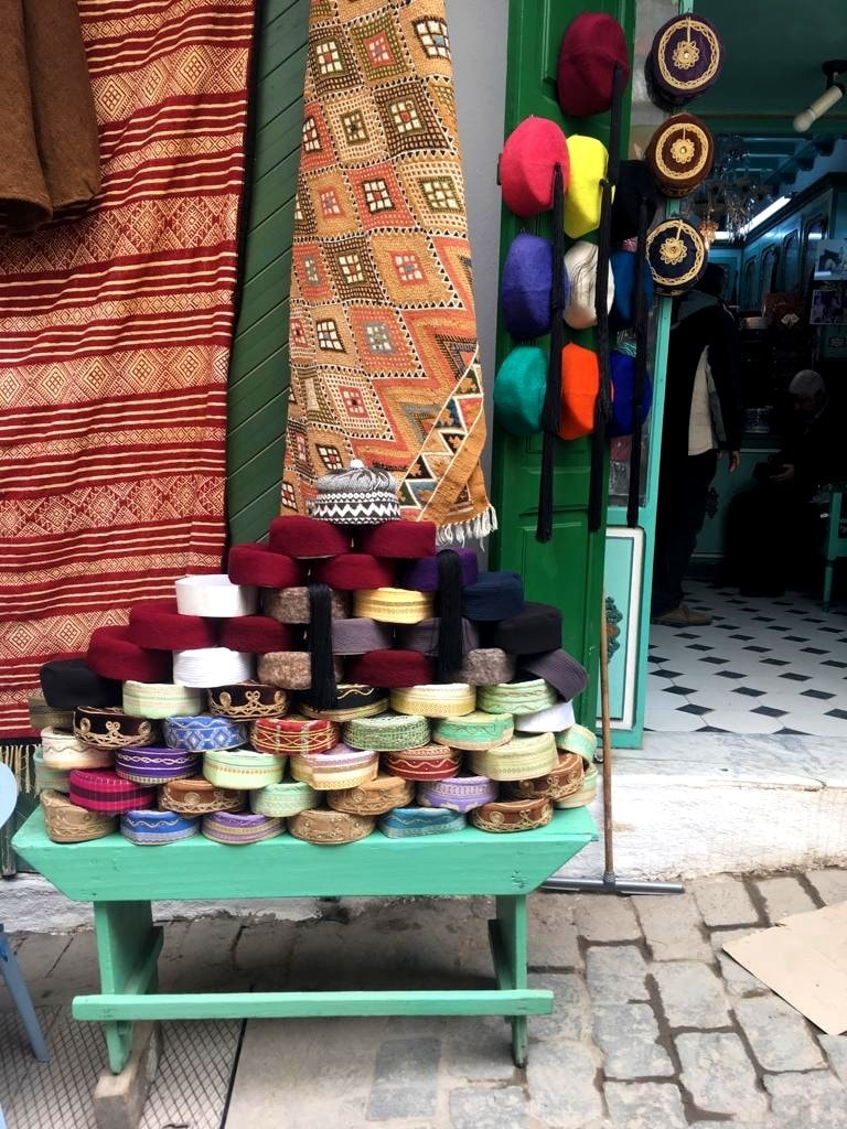 A shop selling traditional woollen hats, known as *chechia.*