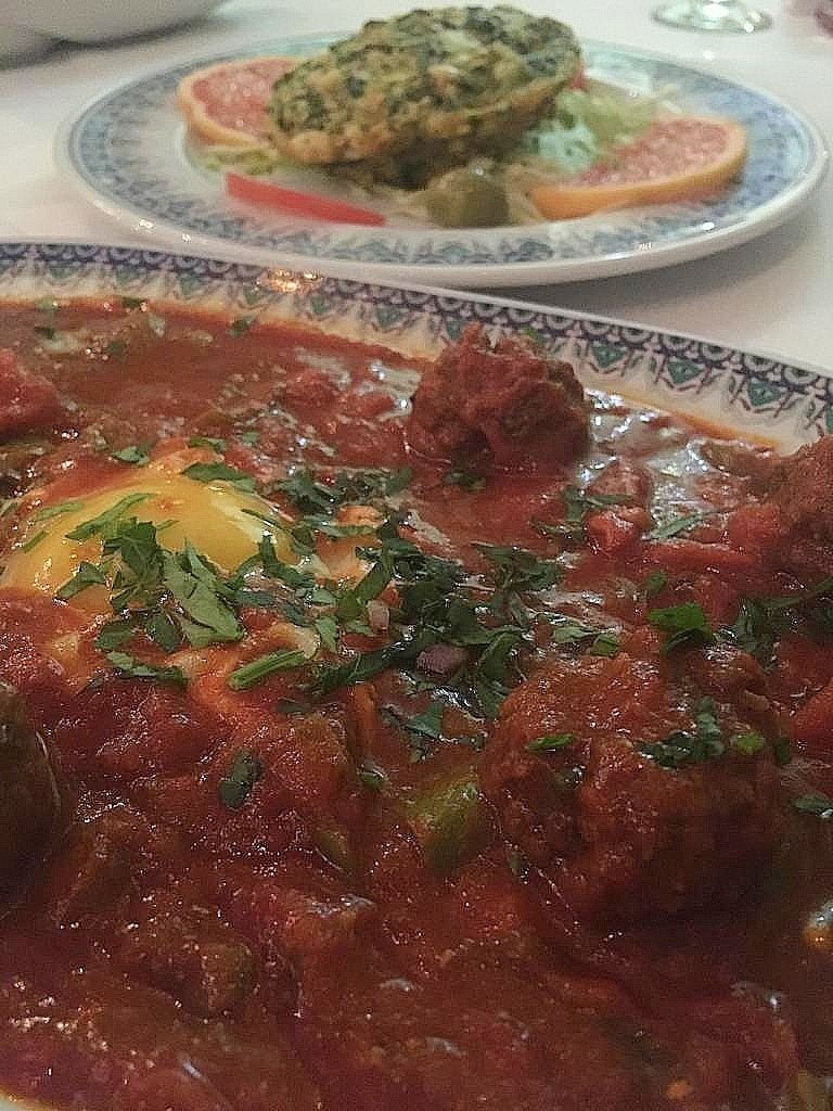 *Ojja*, made of eggs and meatballs in a stew of tomatoes and spices, at Essaraya Restaurant.