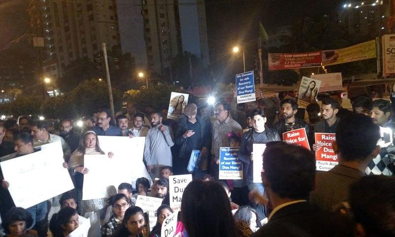 کراچی: دعا منگی اغوا کے خلاف احتجاج، پولیس کا پیش رفت کا دعویٰ