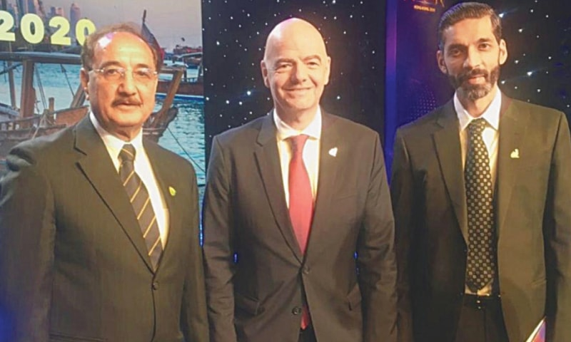 HONG KONG: FIFA president Gianni Infantino (C) poses with PFF Normalisation Committee chairman Humza Khan (R) and member retired Col Mujahidullah Tareen on the sidelines of the AFC Awards  on Monday.