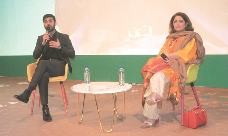 LAHORE: Actors Fawad Khan and Atiqa Odho speaking during a session at the AdAsia Advertising Congress on Tuesday. —Murtaza Ali / White Star