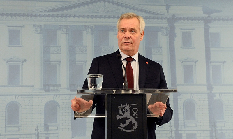 Finnish Prime Minister Antti Rinne speaks at a press conference after giving his resignation to President Sauli Niinisto at the President's official residence M'ntyniemi in Helsinki, Finland on  Tuesday. — AP