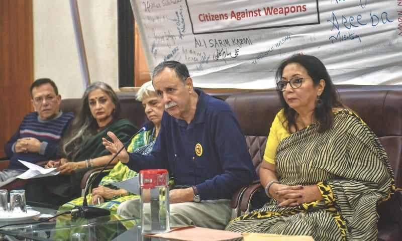 ACTIVIST Naeem Sadiq speaks at the presser organised at the press club on Wednesday.—White Star