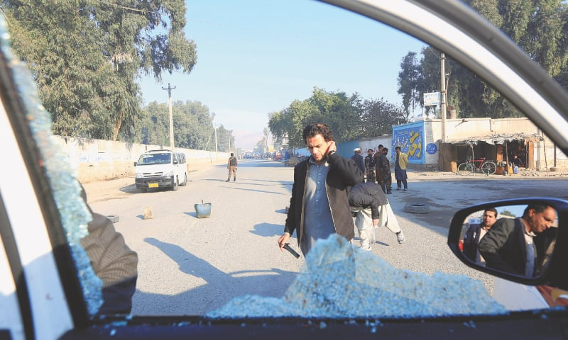Jalalabad: A broken window of the vehicle that was carrying Japanese doctor Tetsu Nakamura during the attack.—Reuters