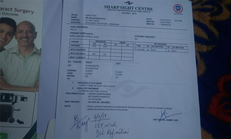 Afaan's medical report. — Photo: Kaisar Andrabi