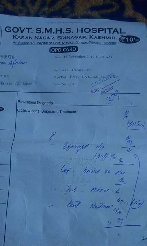 Mustafa's medical report. He has been having nose bleeds since his release from police custody. — Photo: Kaisar Andrabi