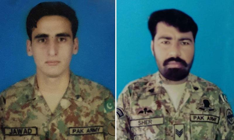 شہید حوالدار شیر زمان اور سپاہی محمد جواد — فوٹو: آئی ایس پی آر