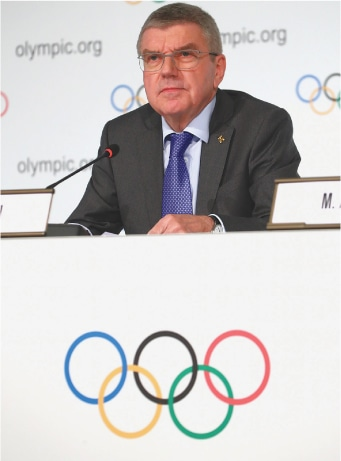 IOC president Thomas Bach attends a new conference on Thursday.—Reuters
