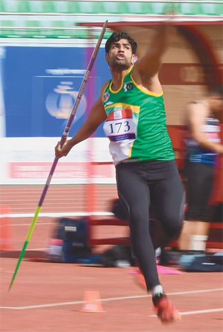 KATHMANDU: Pakistan's Arshad Nadeem competes in the men's javelin throw final at the South Asian Games on Saturday.—AFP