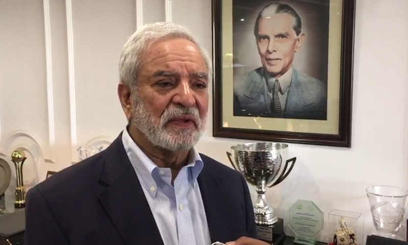 PCB chairman Ehsan Mani speaking to reporters on Sunday. — DawnNewsTV