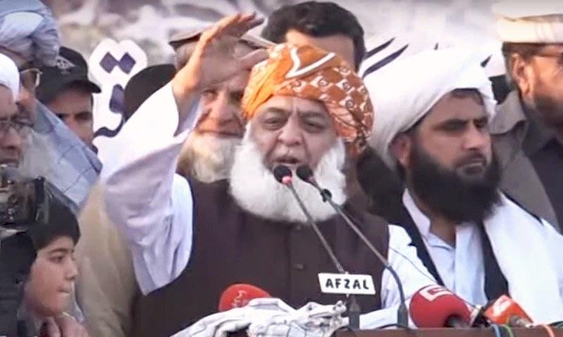 JUI-F chief Fazlur Rehman addressing a protest rally on Peshawar's Ring Road on Sunday. — DawnNewsTV