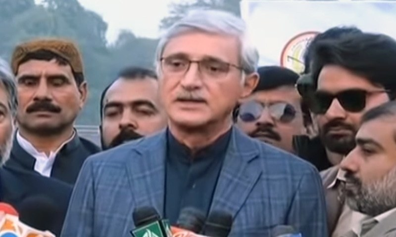 Disqualified PTI parliamentarian Jahangir Khan Tareen addressing a press conference in Lahore on Sunday. — DawnNewsTV