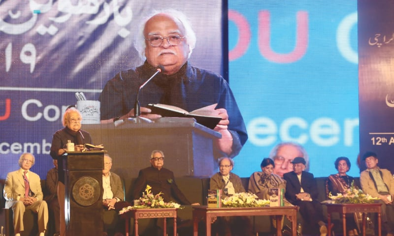 Anwar Maqsood delivers his deceptively simple 'Dialogue with  Ghalib' at the concluding session of the Urdu Conference on Sunday. —Shakil Adil/ White Star
