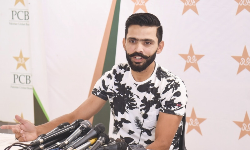 FAWAD Alam addresses the press conference at the National Stadium.—courtesy PCB