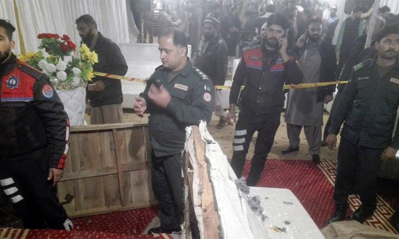 A religious event was going on when it was disrupted after a sudden mysterious explosion at Muhammad Ali Road in Township. — Wasim Riaz/File