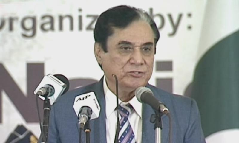 National Accountability Bureau (NAB) Chairman Javed Iqbal addresses a ceremony on International Anti-Corruption Day in Islamabad on Monday. — DawnNewsTV/File