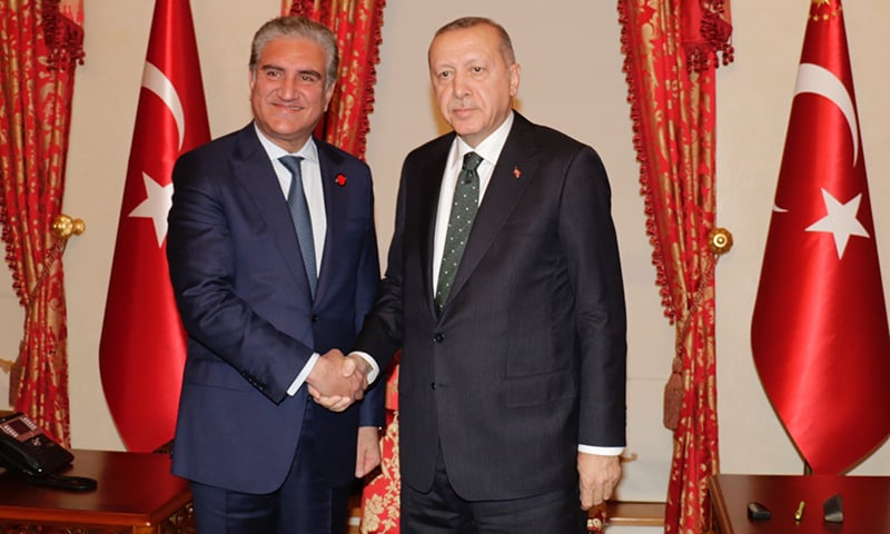Foreign Minister Shah Mehmood Qureshi meets Turkish President Recep Tayyip Erdogan on the sidelines of the Heart of Asia meeting in Istanbul. — Photo courtesy: FO