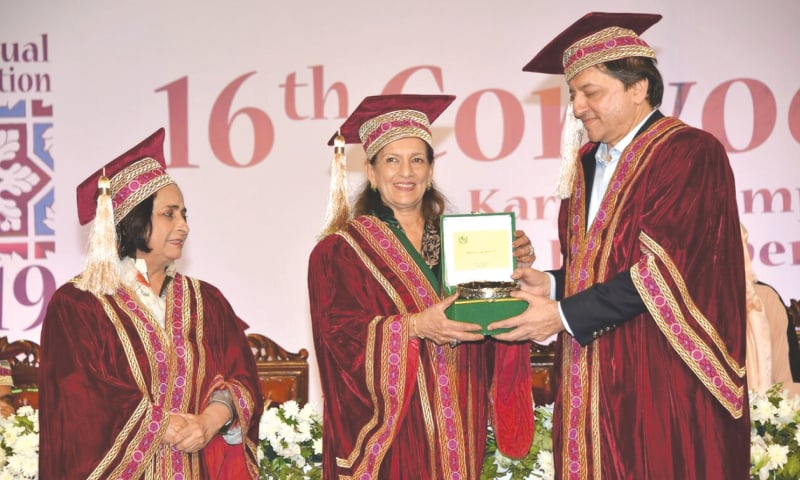 Deputy Chairman of the Senate Saleem Mandviwalla, Shahnaz Wazir Ali and Dr Azra Pechuho at the Szabist convocation on Sunday.