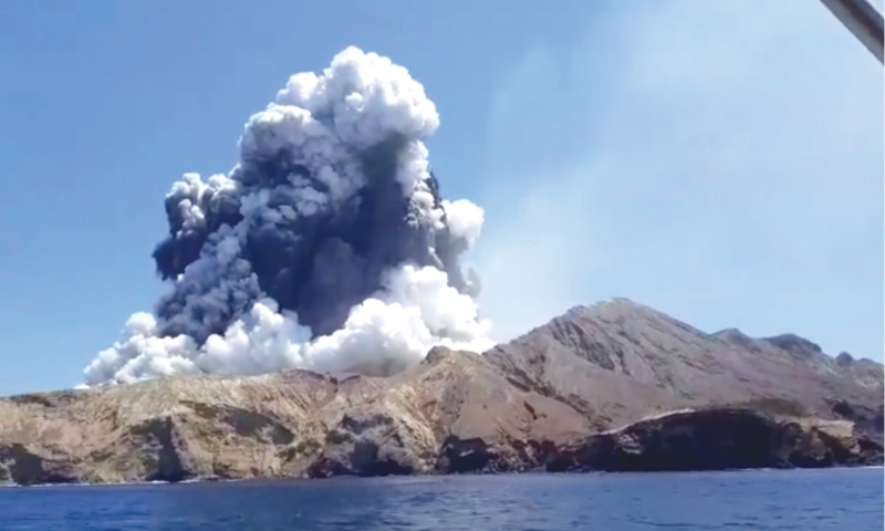 WELLINGTON: Smoke rising from the volcanic eruption is pictured from a boat in this grab obtained from a social media video.—Reuters