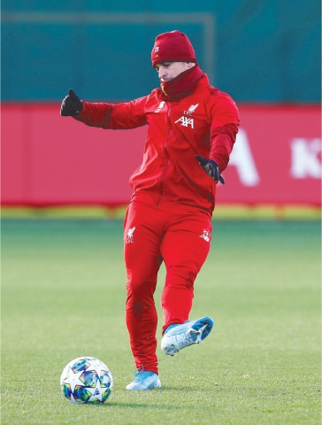 LIVERPOOL: Liverpool's Xherdan Shaqiri kicks the ball during a training session at Melwood on Monday.—Reuters