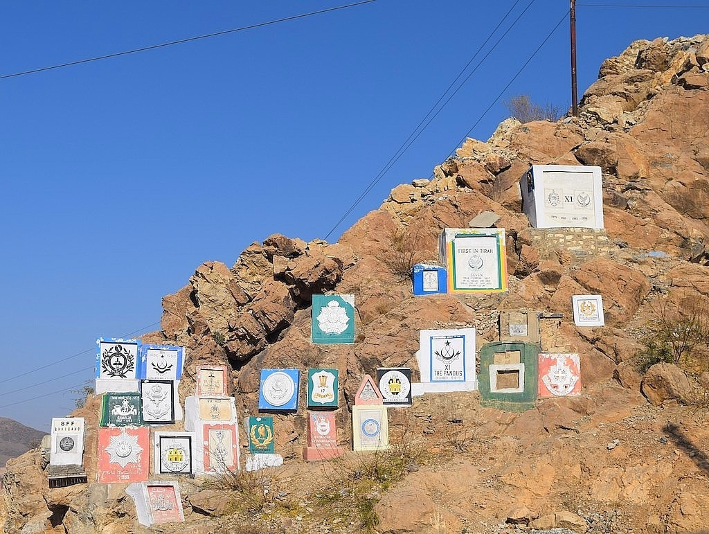 The regimental plaques of those who have served at the Khyber Pass since 19th century.